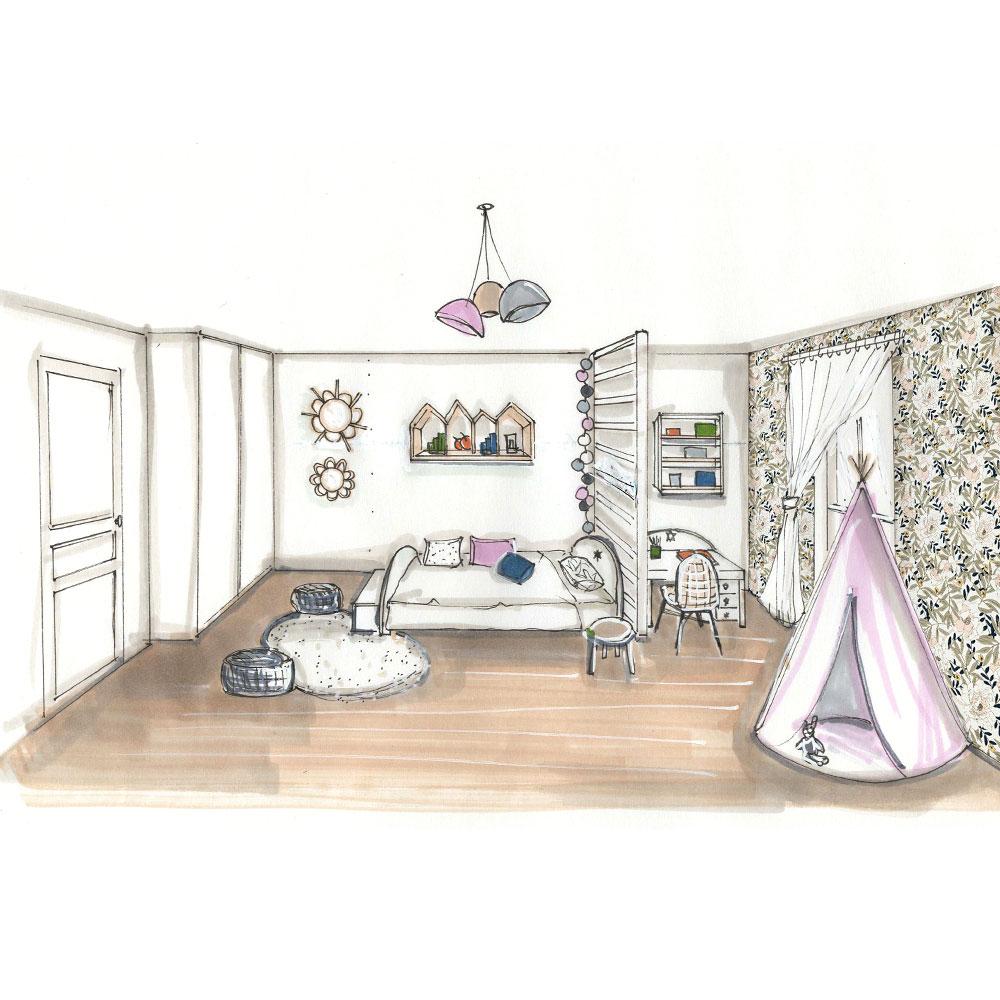 Décoration d'une chambre fille style liberty, nature