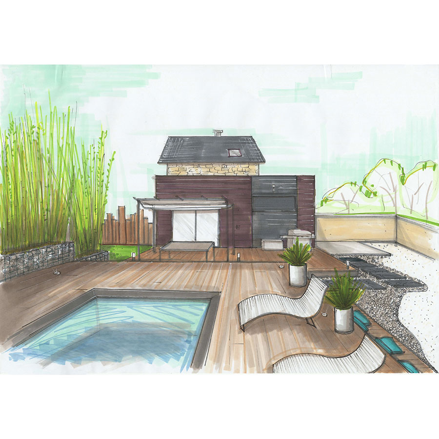 Croquis aménagement piscine