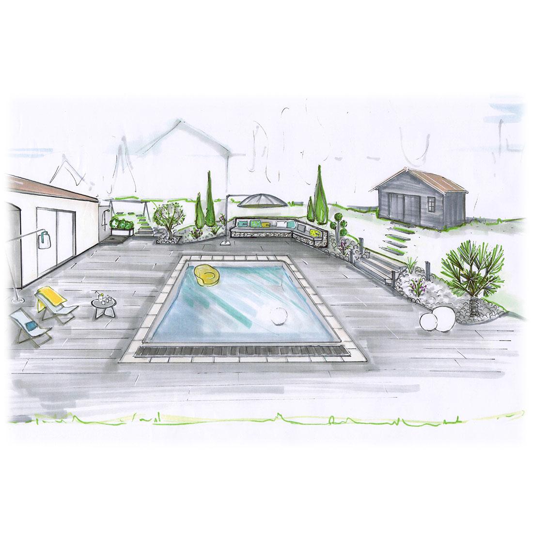 dessin aménagement extérieur piscine