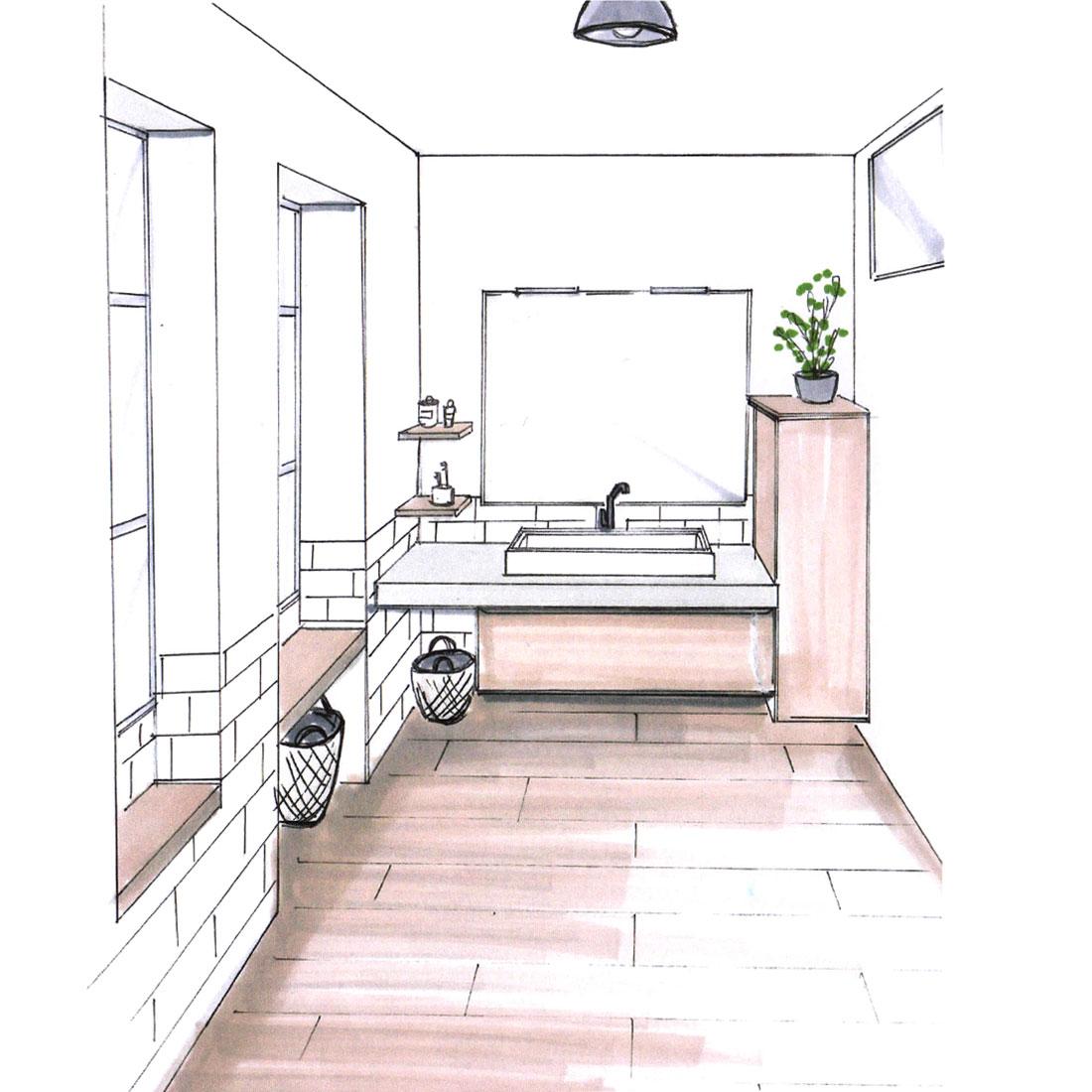 croquis agencement salle de bain