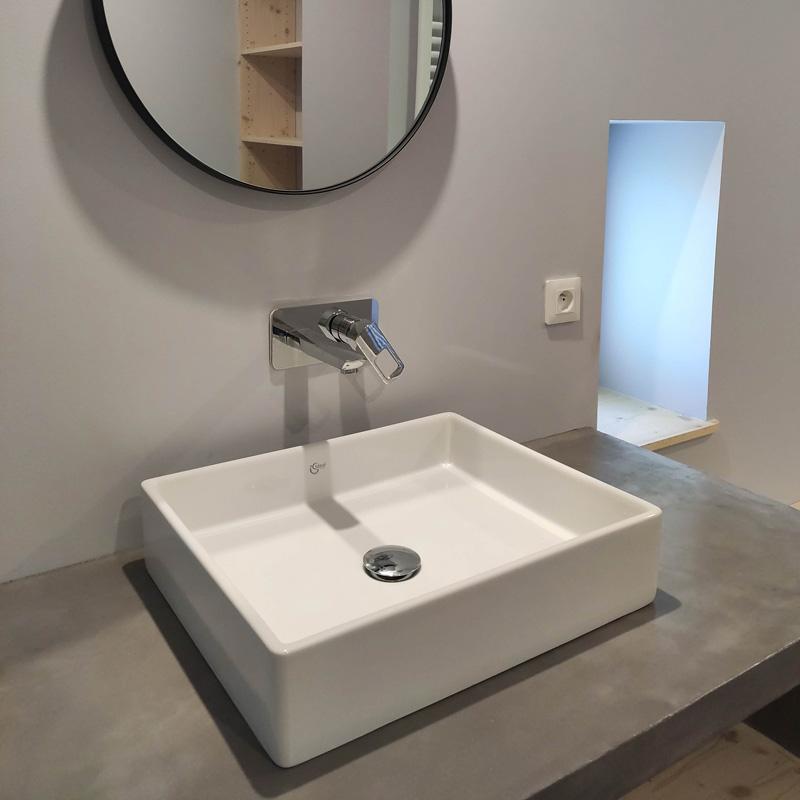 miroir rond vasque carré zen