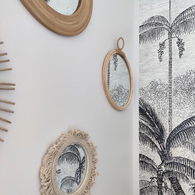 décoration chambre nature noir et blanc fibre végétale