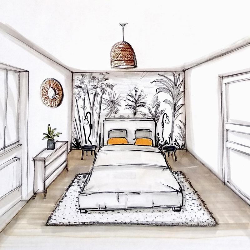 Croquis aménagement chambre voyage noir et blanc