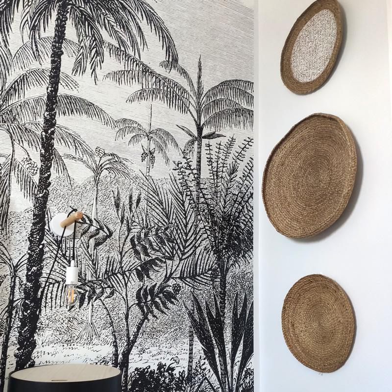tapisserie noir et blanc motifs palmiers