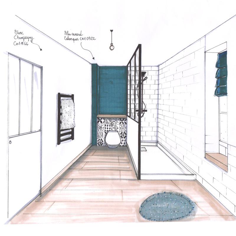 dessin perspective couleur déco salle de bain